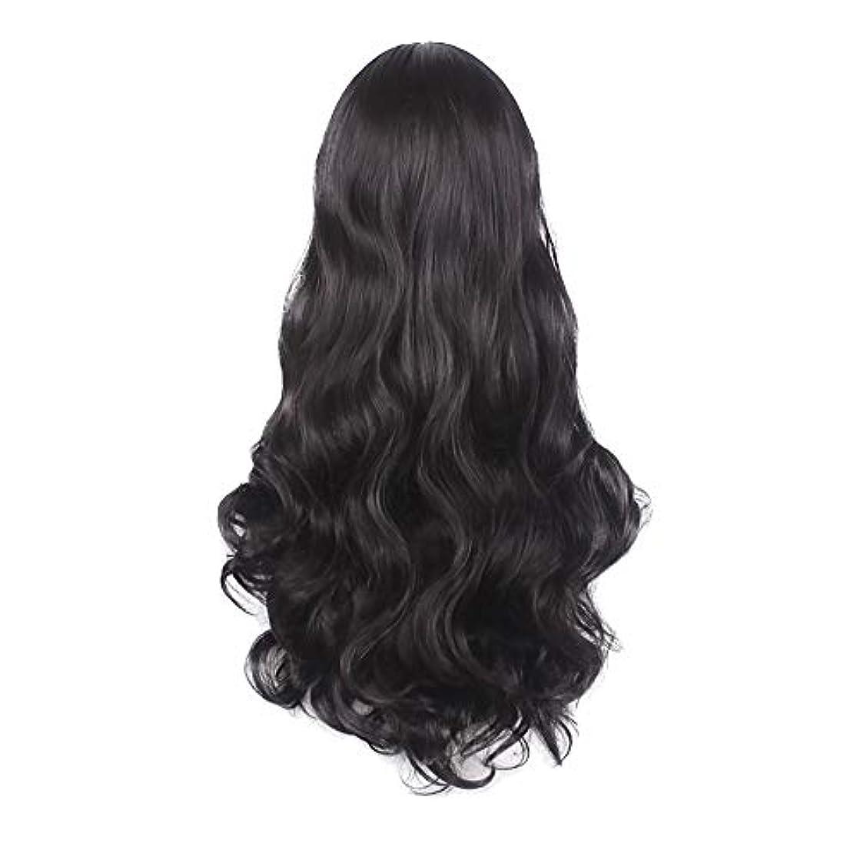 慰め投資するポルトガル語女性の黒の長い波状の巻き毛のかつらパーティーCOS小道具かつらをかつら