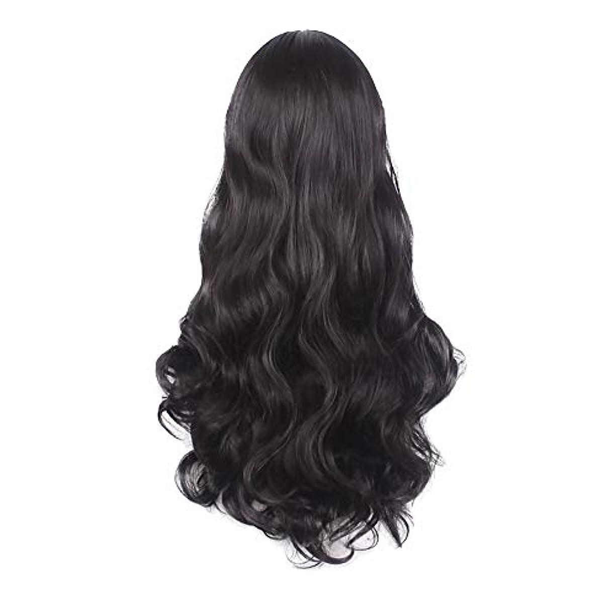 迷惑流産束女性の黒の長い波状の巻き毛のかつらパーティーCOS小道具かつらをかつら