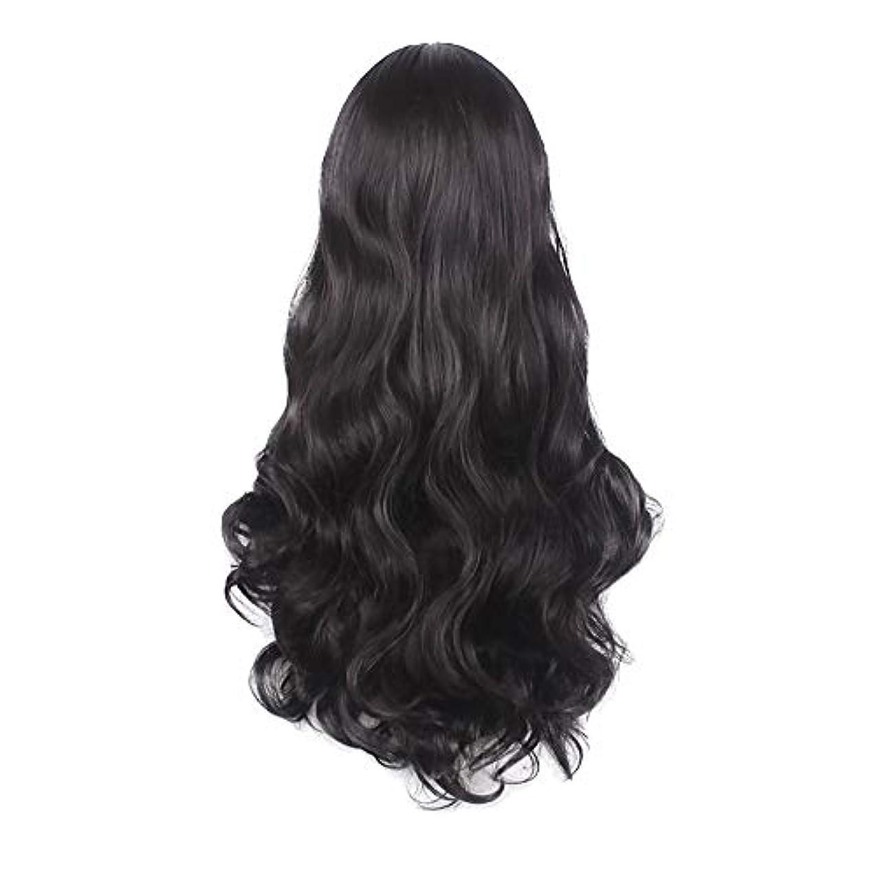 タイプ再開とげのある女性の黒の長い波状の巻き毛のかつらパーティーCOS小道具かつらをかつら