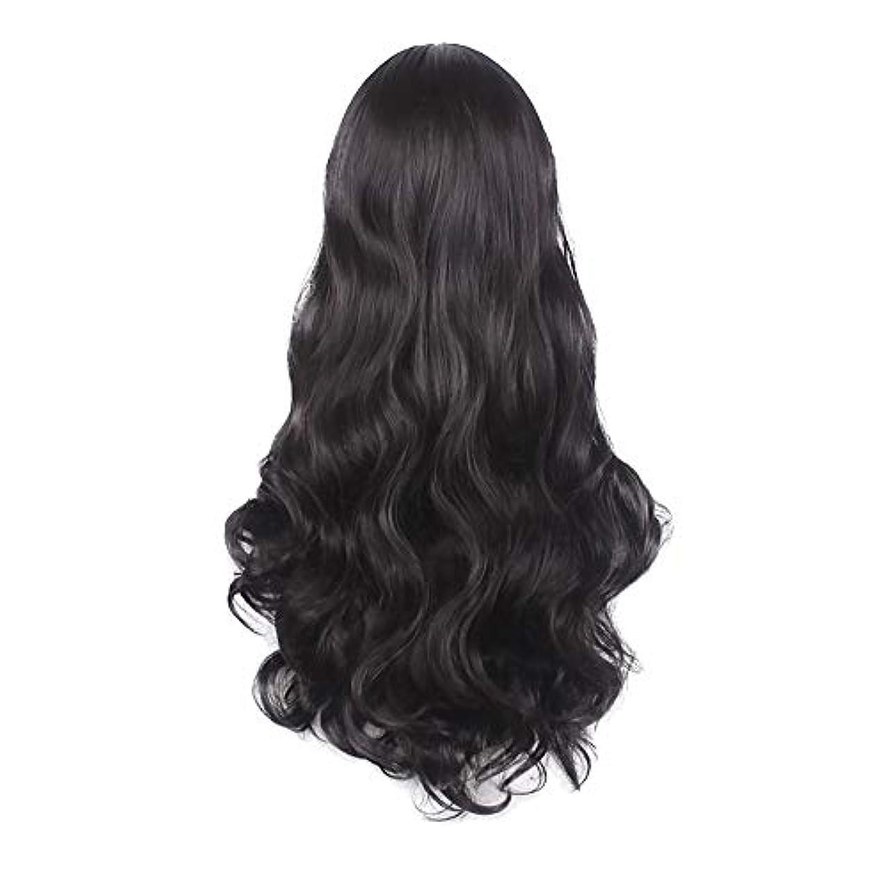 エラー三十厚さ女性の黒の長い波状の巻き毛のかつらパーティーCOS小道具かつらをかつら