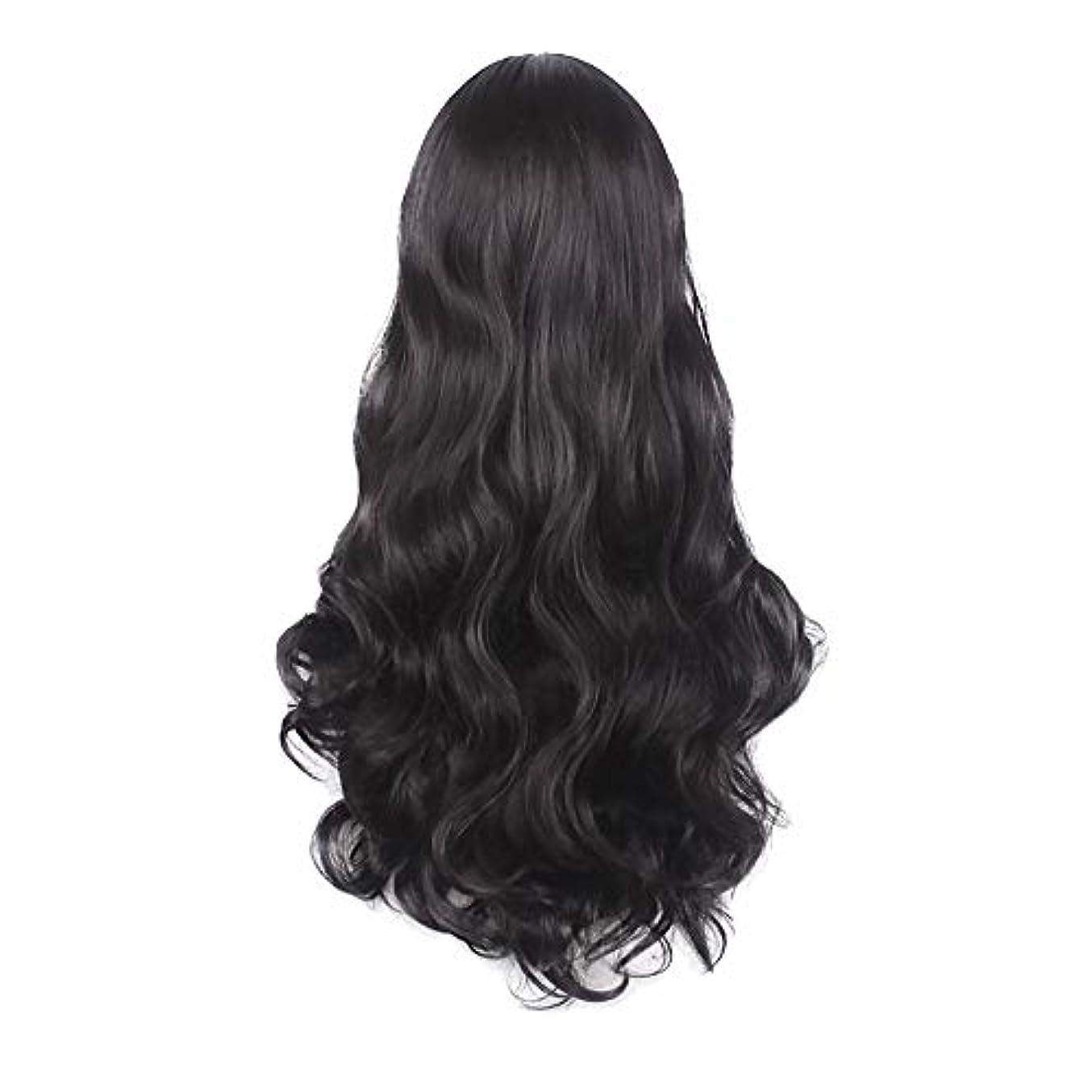 打ち負かす腕イディオム女性の黒の長い波状の巻き毛のかつらパーティーCOS小道具かつらをかつら