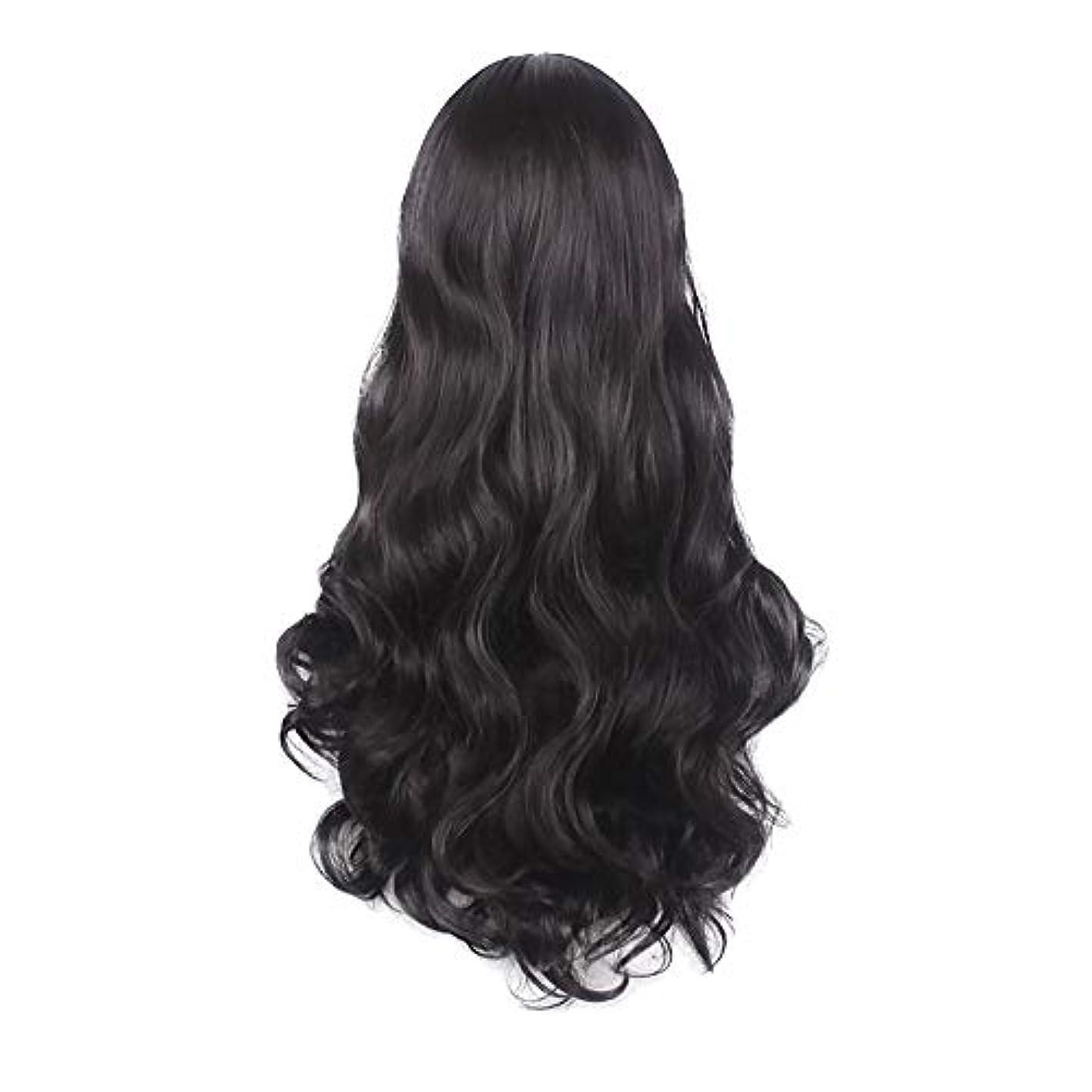 間欠砂の口述する女性の黒の長い波状の巻き毛のかつらパーティーCOS小道具かつらをかつら