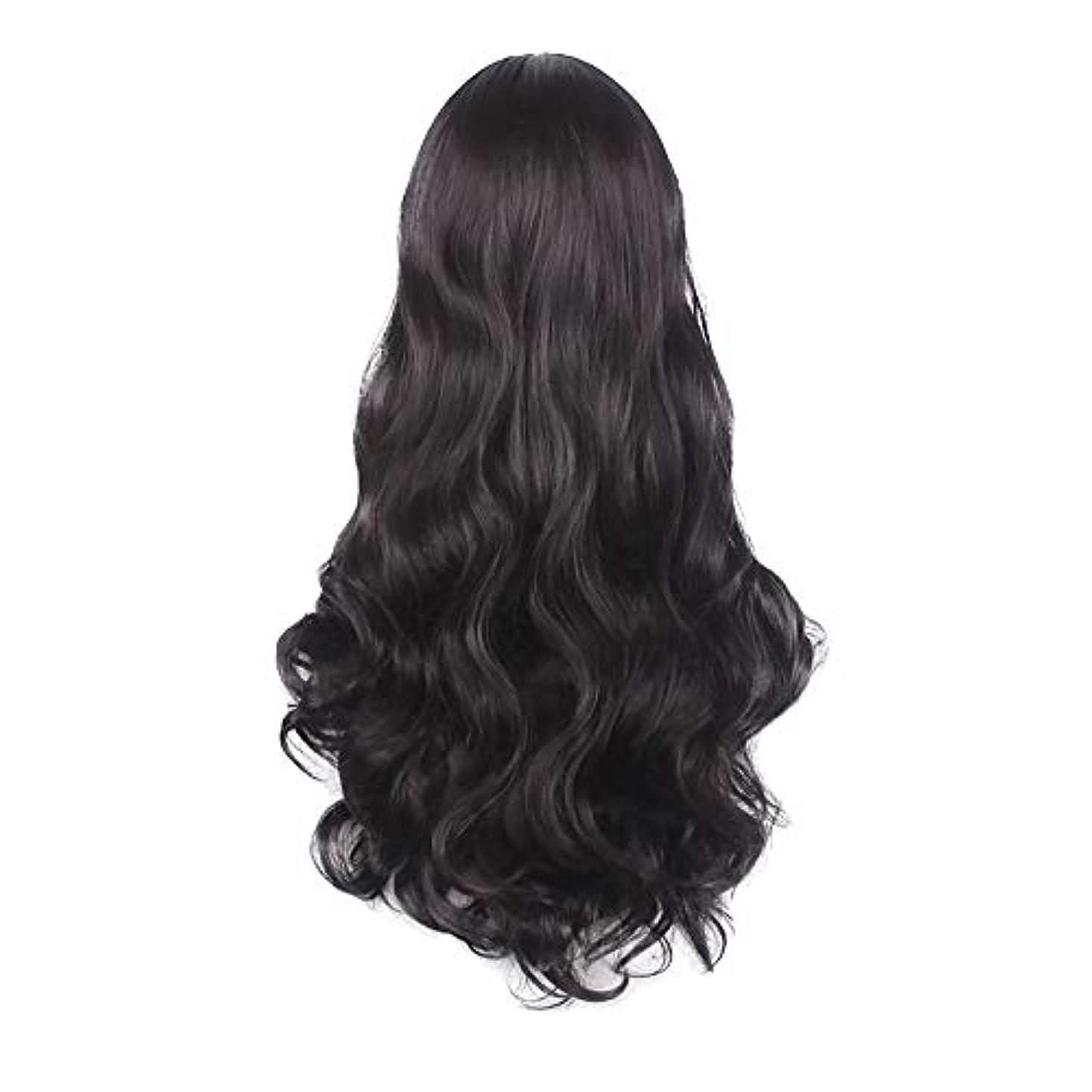 中絶ほのめかすパシフィック女性の黒の長い波状の巻き毛のかつらパーティーCOS小道具かつらをかつら