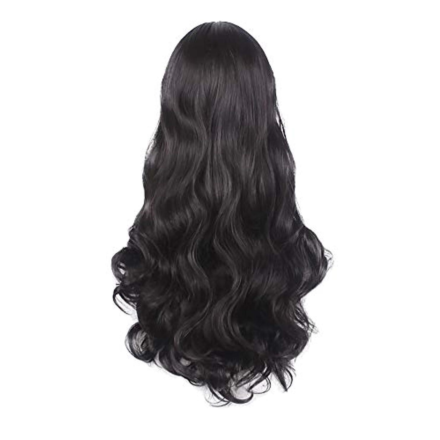 委員会バンカー決定女性の黒の長い波状の巻き毛のかつらパーティーCOS小道具かつらをかつら