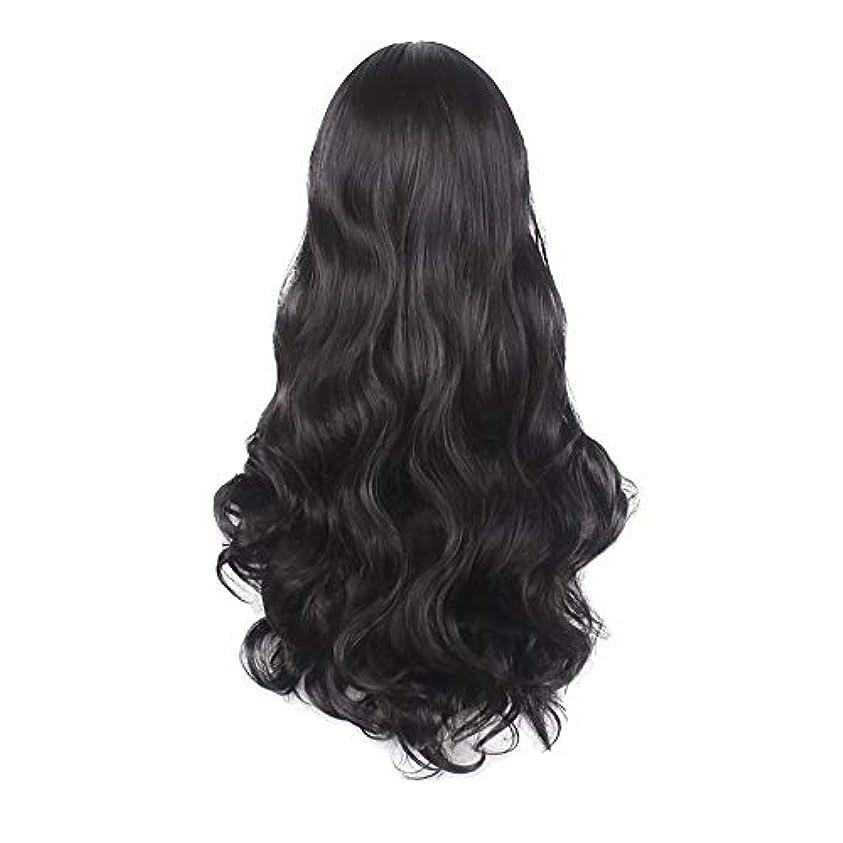 ランデブーローブアニメーション女性の黒の長い波状の巻き毛のかつらパーティーCOS小道具かつらをかつら