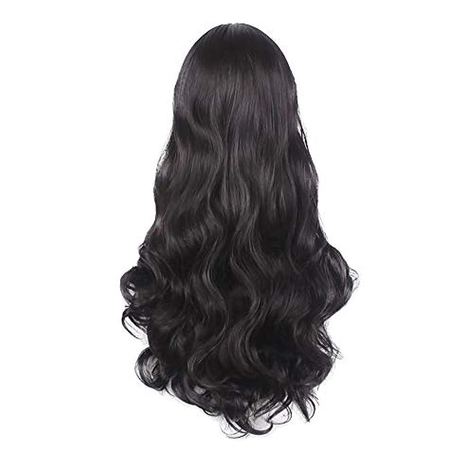 遅滞計算可能公使館女性の黒の長い波状の巻き毛のかつらパーティーCOS小道具かつらをかつら