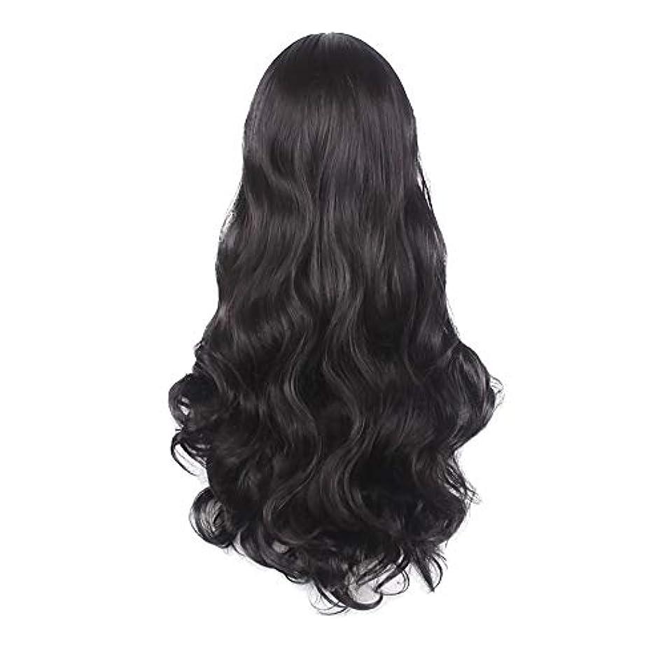 どっちでもレバーご予約女性の黒の長い波状の巻き毛のかつらパーティーCOS小道具かつらをかつら