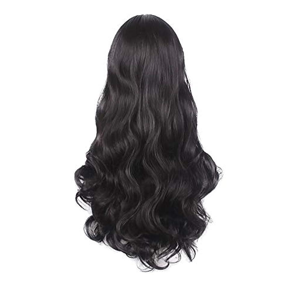 改善失礼四分円女性の黒の長い波状の巻き毛のかつらパーティーCOS小道具かつらをかつら