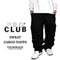 822 PRO CLUB(プロクラブ) スウェットカーゴパンツ 黒/くろ 大きいサイズ メンズ スウェットパンツ LL 2L 3L 4L (XL)