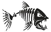 "Fastcard魚釣りスケルトンボーンスカル自動車ボートバンパーウィンドウ壁デカールステッカービニール 6"" ブラック FFSB"