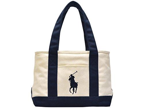 (ラルフローレン) Polo Ralph Lauren バッグ BAG SCHOOL TOTE MD トートバッグ ビックポニー キャンバス ブランド 並行輸入品 (アイボリー×ネイビー)