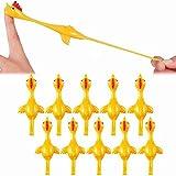 チキントイ 鶏のおもちゃ おかしい伸縮性 飛行チキンのフリックのおもちゃ いたずら玩具 パーティー子供に大人向けギフト10枚
