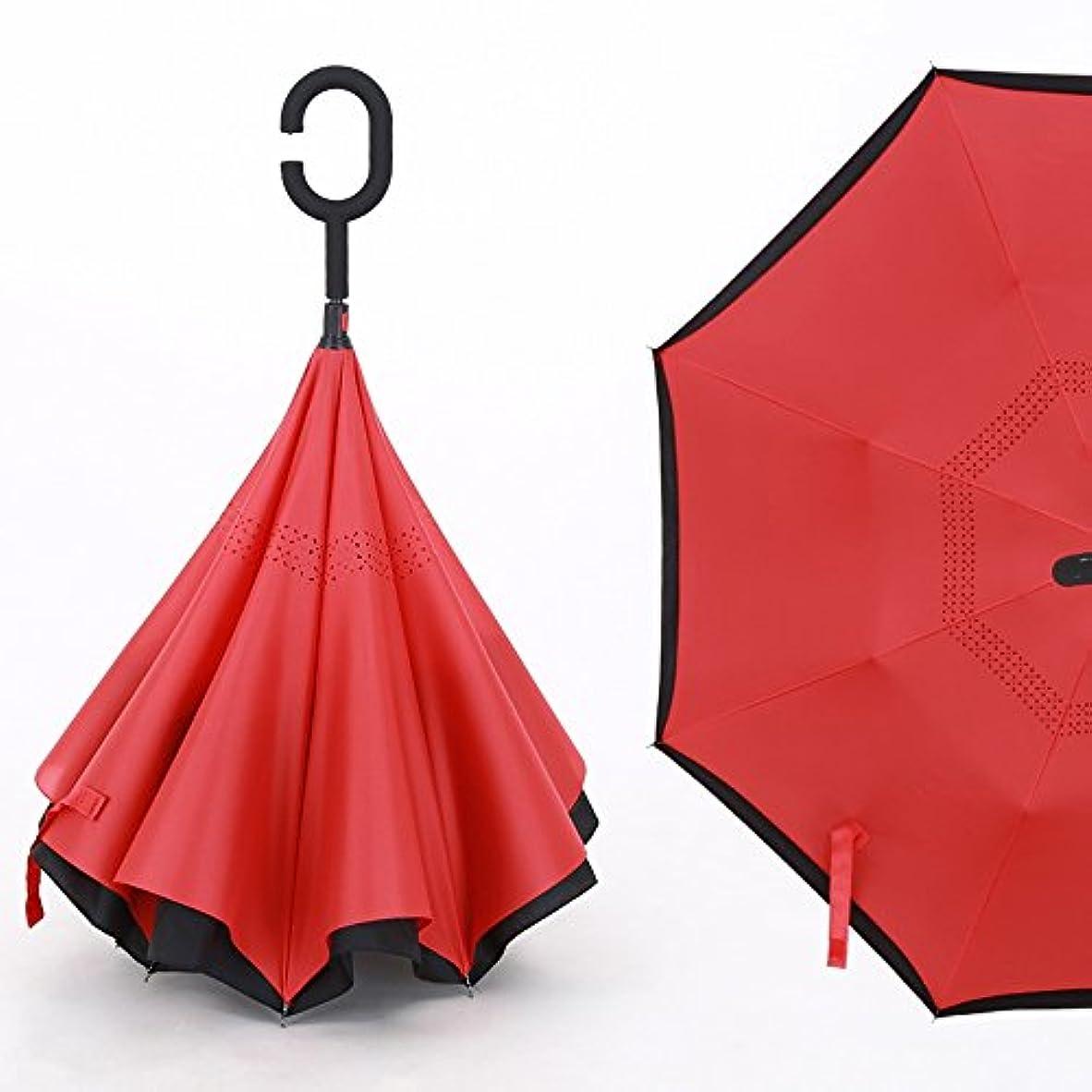 楽しむ広告する許容XRXY 創造性ハンズフリーリバース折り畳みサン傘/ポータブルダブルレイヤードロングハンド傘/ラージピュアカラーデュアルユースパラソル/シンプルな自動車用傘 ( 色 : E )
