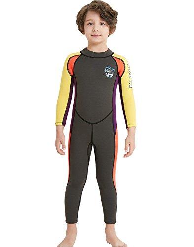 ウェットスーツ 子ども用 2.5mm フルスーツ 長袖 マリンスポーツ ダイビングスーツ 男の子 Lサイズ グレー