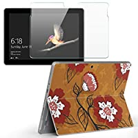 Surface go 専用スキンシール ガラスフィルム セット サーフェス go カバー ケース フィルム ステッカー アクセサリー 保護 フラワー 花 赤色 000719