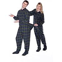 BIG FEET PAJAMA CO. Navy Blue & Green Plaid Flannel Adult Footed Pajamas w/Drop Seat Onesie