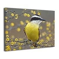 花 鳥 アートポスター ポスター キャンバス絵画 インテリアアート アートパネル 現代壁の絵 壁掛け 50*40cm 木枠付きの完成品 White