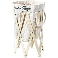 折りたたみ式 洗濯かご ランドリー ハンパー アイボリー/ナチュラル EF-LH01IVNA