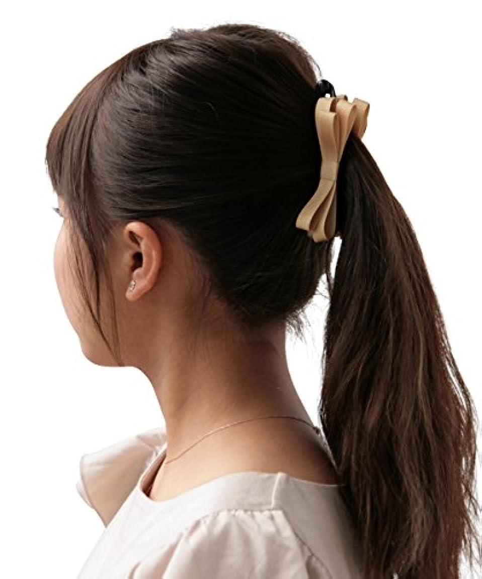 西部模索寂しいボナバンチュール(Bonaventure) ミルフィーユ リボン バナナクリップ グログラン 小さめ レディース ヘアアクセサリー 人気 ブランド ヘアクリップ 髪留め マスタード