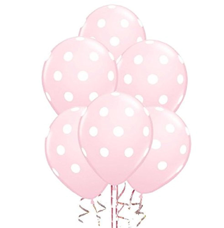 ドット柄バルーン11 inプレミアム真珠色ベビーピンクwith手織り印刷ホワイトドットPkg/50