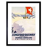 Travel Alpine Railway Jungfrau Mountain Swiss Flag Snow Framed Wall Art Print