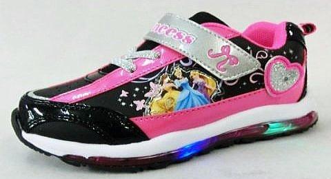 【ディズニー】 プリンセス フラッシュスニーカー 6667 ピカピカ光る 靴 (18cm, ブラック...