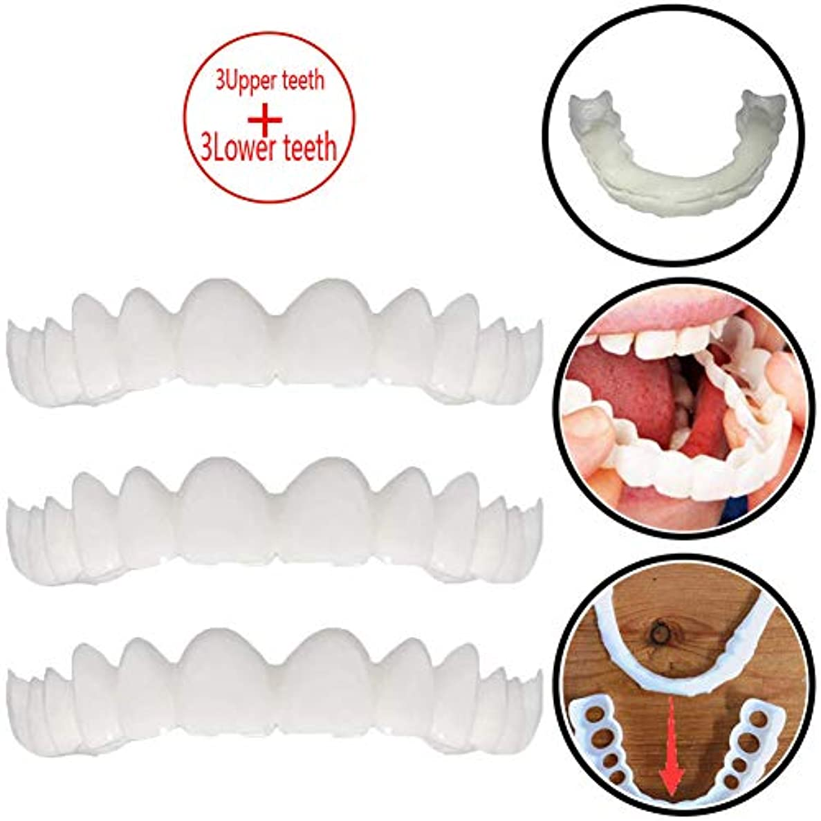 医療過誤土器とまり木3ペアの一時的な歯のホワイトニング、シミュレーションブレース上部ブレース+下部ブレースホワイトニングティースナップオンインスタント完全ベニア,3upperteeth+3lowerteeth