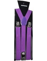 (ラボーグ)La Vogue サスペンダー ベルト ソリッド 無地 男女兼用 ビジネス アイテム ズボン吊り Y型 クリップ タイプ (5紫)