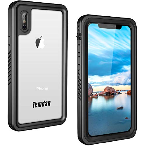 Temdan iPhone xs 防水ケース iPhone x 防水ケース IP68規格 完全防水 無線充電サポート耐衝撃 防水ケース フェイスID認証対応 操作便利 脱着簡単 iPhone x/xs 対応(黒色)