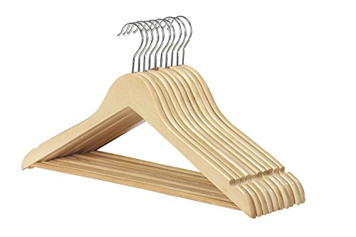 木製スーツハンガーバー付きto keepパンツStraight折り目、フリー、回転フック20個パック