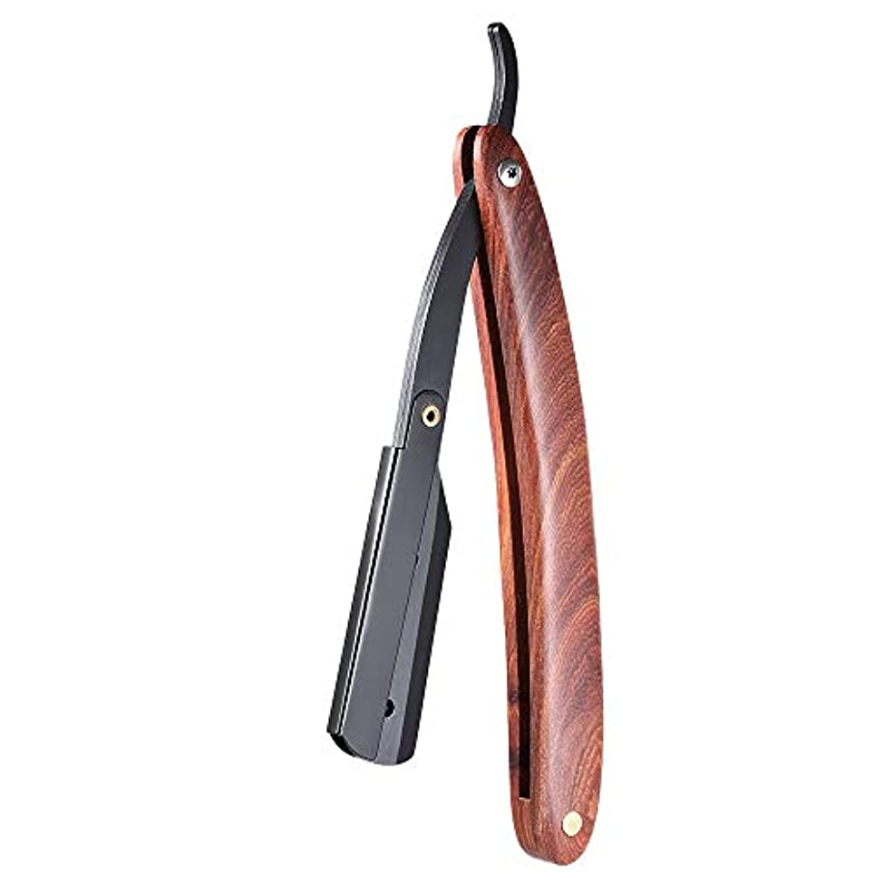 望ましいビジター心配するMen Shaving Straight Edge Razor Stainless Steel Manual Razor Wooden Handle Folding Shaving Knife Shave Beard Cutter...