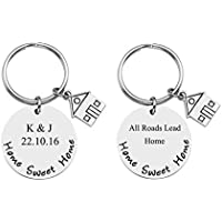PiercingJ 2 Side Engraved Personalized Custom Round Stainless Steel New Home House Keys Keyring Moving in Together First Home Housewarming Gift for New Home Owner Couple Realtor Closing Jewelry