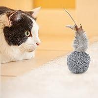 猫のおもちゃ、フェザーとキャットニップを備えた12個のポータブルぬいぐるみ、ペット用おもちゃホワイトグレーブラウン