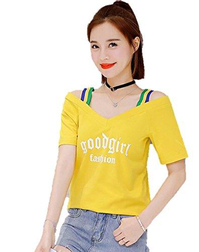 レディース Tシャツ カットソー オフショルダー 肩見せ スポーティ かわいい 半袖 夏 トップス K15286 (イエロー, M)