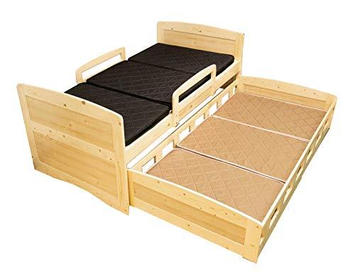 親子ベッド 2段 ナチュラル ホワイト 親子ベット 収納式 ツインベッドフレーム スライドベッド シングル 二段ベッド すのこベッド (ナチュラル)