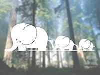 "Elephant Familyかわいいビニールデカール–選択サイズ (B) Regular: 6"" ホワイト CV819_White_6"""