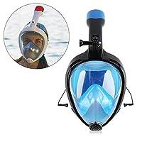 Langbaシュノーケルマスク フルフェイス型 ダイビングマスク 180°視野 スポーツカメラ取付可能 耳栓機能付き 防曇設計 折り畳み式 収納袋付き 男女兼用
