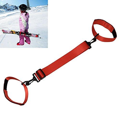 Yamay スキー板用 肩キャリアストラップ ハンドストラップは、スノーボード携帯用ベルト 調節可能な (レッド)