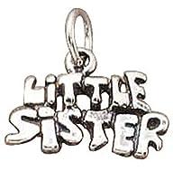 スターリングシルバー女の子0.8MMボックスチェーン3d Little Sister Wordペンダントネックレス シルバー