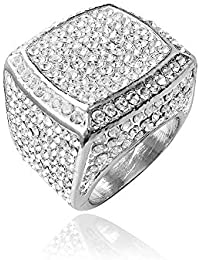 Hip Hop Bling Empire Mens Iced Out Cz Diamond Micro Paved Sterling Silver Gold Square Jewelry Rings #8,9,10,11,12