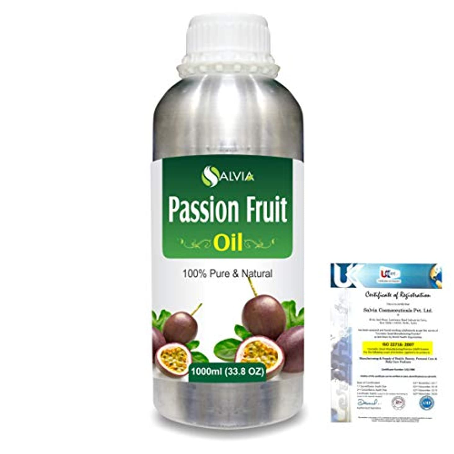 祖父母を訪問既にもちろんPassion Fruit (Maracuja) Natural Pure Undiluted Uncut Carrier Oil 1000ml/33.8 fl.oz.