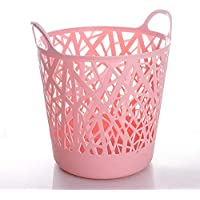 DCAH ランドリーバスケットハンパープラスチック服バスケット衣類収納バケツ2色2サイズ Laundry basket (色 : Pink, サイズ さいず : 40 * 45 * 40CM)