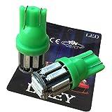 (ライミー) LIMEY 最新!5W級 爆光 T10 LED バルブ グリーン 緑 ポジション ウエッジ SMD7020 10連×2SMD 20チップ搭載 6000K ナンバー ルームランプ 取説&保証書付 2個入 【ベース:グリーン】 - 7020GR2