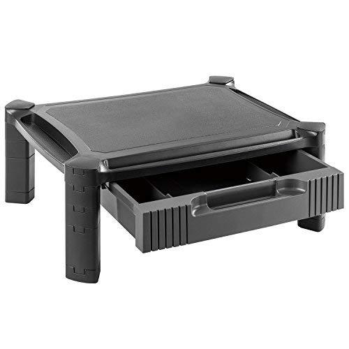 HUANUO プリンター台 モニター台 机上台 モニタースタンド パソコンスタンド 引き出し付き 大容量収納 高さ調整可能 幅43cm 耐荷重10kg