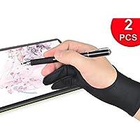 二本指 グローブ 2枚入り 防汚 通気 液晶ペン タブレット用 絵描き 手袋 フリーサイズ 男女兼用 左利き 右利き 使用可能 2本指 アーティストグローブ トレースライトパッド グラフィックスモニター 対応