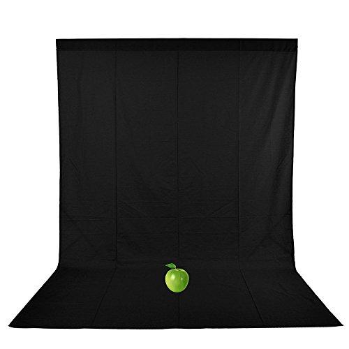 UTEBIT 黒 布 無地 生地 背景布 無反射 1.8m x 2.8m 撮影 背景 スタンド 横ポール対応 背景シート 0.85kg 100% 綿 アイロンかけ可 バックスクリーン ブラック 暗幕 写真 壁紙 折りたた可 黒い布 180 x 280 cm