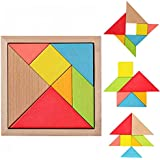 Tangram Puzzle,Xben Educational Wooden Jigsaw Puzzles 7 Piece Mental Development Geometry Toys for Kids Baby Children 5.5 inch Best Gifts