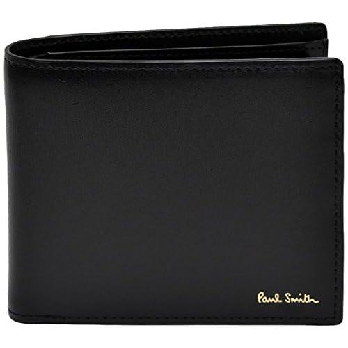 ポールスミス Paul Smith 正規品 本革 シティエンボス 二つ折り財布 ブラック ショップバッグ付 ウォレット (ブラック)