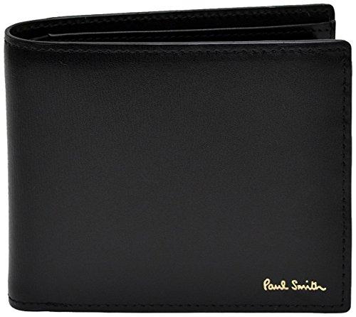 [名入れA筆記体] ポールスミス Paul Smith 正規品 本革 シティエンボス 二つ折り財布 ブラック ショップバッグ付 ウォレット (名入れあり, ブラック)