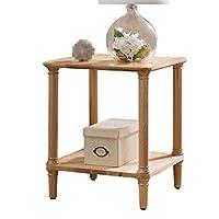C-J-Xin 自宅電話の表は、ダブルレイヤーレトロ小さなテーブル小さなアパートリビングルームのソファコーナーフラワー装飾飾りスタンド テーブル (Color : A, Size : 48*56CM)